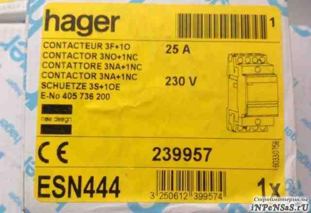 Hager контактор ESN444 25A 3F+ 10